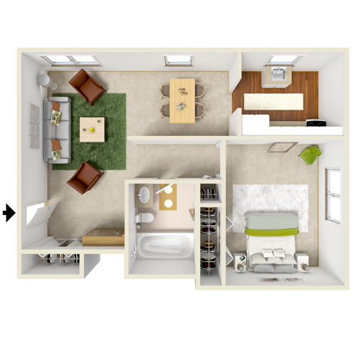 north dohr one bedroom floor plan A