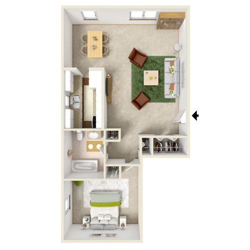 north dohr one bedroom floor plan b
