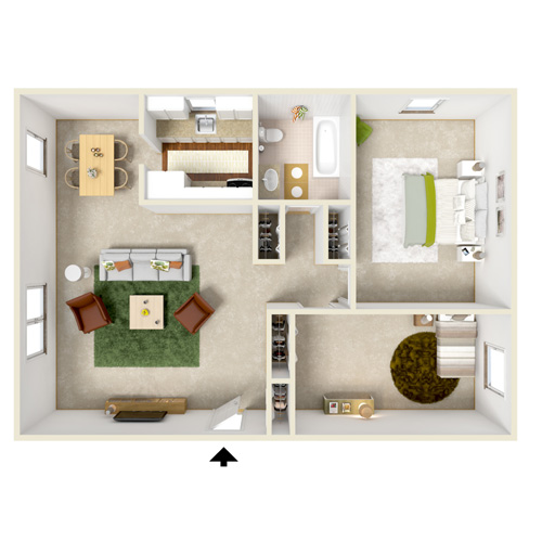 north dohr two bedroom floor plan